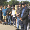CHESLEY OXENDINE/Muskogee Phoenix<br /> The Wicker family enters Saturday's service for Seaman First Class Eugene Wicker. Wicker's nephew Eugene Woodrow Wicker (front-right) provided the DNA used to identify the sailor's remains.