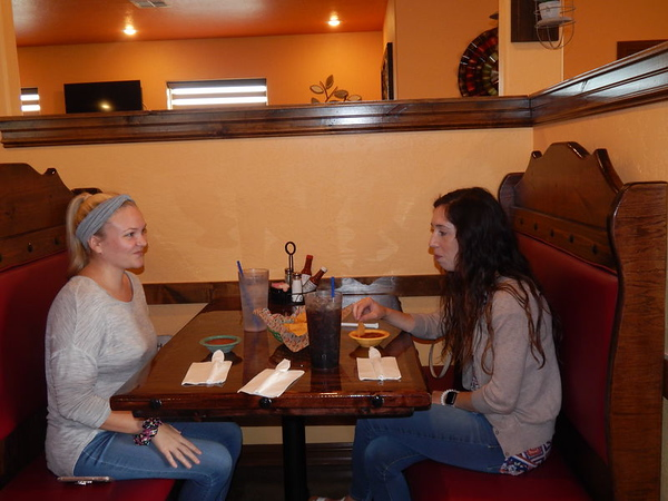 KENTON BROOKS/Muskogee Phoenix<br /> Sam Wild, left, and Sara Hubler sit down to eat at El Jaracho Mexican restaurant at 710 S. Oklahoma 2 in Warner. It is the first restaurant of its kind in Warner. Abel Gonzales is the owner and he has other restaurants in Checotah, Greenville, Ark., and Tulsa. He said he plans to open another one soon in Eufaula.