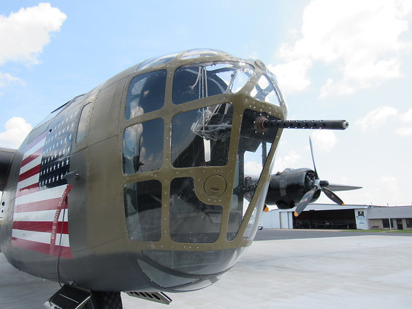 CATHY SPAULDING/Muskogee Phoenix<br /> Windows surround the front gun turret of the B-24 Liberator Diamond Lil. Visitors can see the bomber and other warbirds during the Commemorative Air Force AirPower History Tour this week.