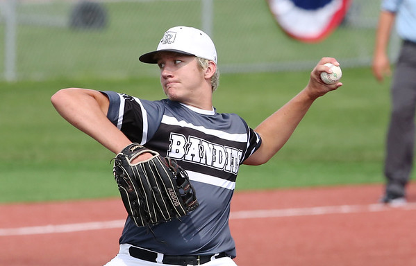 LAURA BEAHM/Courtesy Hastings Tribune<br /> Three Rivers Bandits' Colby Mitchell pitches against Fremont, Neb. in the American Legion Mid-South Regional Tournament Thursday at Duncan Field in Hastings, Neb.