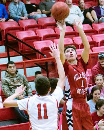 Phoenix special photo by John Hasler<br /> Hilldale's Grant Sikes puts up a 3-pointer in a 52-46 win against Stilwell on Thursday in the Hilldale Invitational tournament.