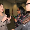 Staff photo by Cathy Spaulding<br /> State Superintendent of Public Instruction Joy Hofmeister discusses education funding and other issues with Muskogee High School sophomores Allie Love, center, and Rachel Peck. Hofmeister held an education town hall Monday in Muskogee.