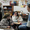 Staff photo by Cathy Spaulding<br /> Fort Gibson AP world history teacher Cassandra Edwards, left, listens to a discussion among students, from second left,Sydney Hayes, Rylee Rowe and Tori Faust.<br /> The class is offered year-round.