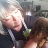 Staff photo by Cathy Spaulding<br /> Vickie Greer Berner cuddles a dachshund visiting her restaurant, Mattie Jane's on Main. Berner has loved and owned long little doggies since she was 9.