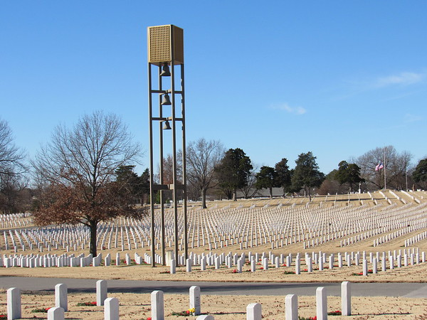 Staff photo by Cathy Spaulding<br /> The 45-foot tall carillon at Fort Gibson National Cemetery was dedicated on Veterans Day, 1985. It is getting a new sound system.