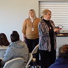"Staff photo by Mike Elswick<br /> Phyllis Spriggs makes a point during a presentation titled ""Skills to Pay the Bills"" during a Yes You Can session Wednesday at Three Forks  Harbor. Fellow presenter Jennifer Tapia stands to her left while attendees listen."