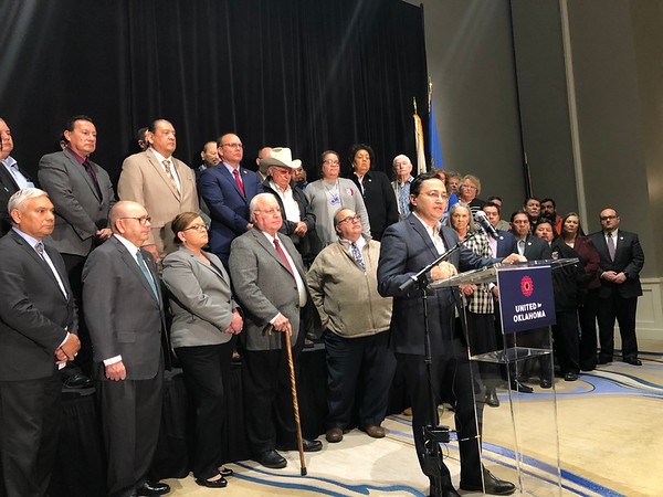D.E. SMOOT/Muskogee Phoenix<br /> Cherokee Nation Principal Chief Chuck Hoskin Jr. explains the decision on Thursday made collectively by the federally recognized tribes of Oklahoma to reject Gov. Kevin Stitt's offer to temporarily extend gaming compacts. Tribal leaders contend the compacts will renew automatically Jan. 1 for another 15 years.