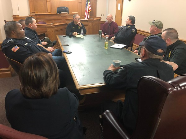 CHESLEY OXENDINE/Muskogee Phoenix<br /> Chiefs of police from across the county gathered Thursday morning to meet with County Sheriff Rob Frazier regarding law enforcement issues in the area.