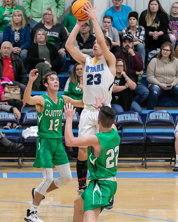 SHANE KEETER/Special to the Phoenix<br /> Oktaha's Ethan Frazier puts up a short jumper during the final minutes of Oktaha's win over Quinton.