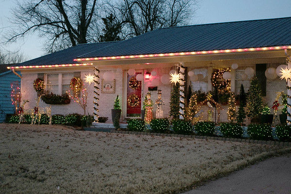 "SHANE KEETER/Special to the Phoenix<br /> The Johnston residence on Georgia Avenue was selected as this year's winner of the annual Muskogee Phoenix ""Deck the House Holiday Lights Contest."""
