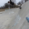 Staff photo by Cathy Spaulding<br /> Skyler White of Muskogee goes nearly horizontal as he wheels his skateboard around Midland Valley Skatepark.