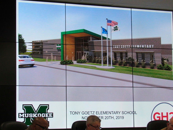 An artist rendering of the rebuilt Tony Goetz Elementary is shown at the Muskogee Board of Education's recent meeting.