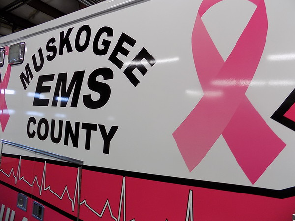 Staff photo by Mike Elswick<br /> The newest Muskogee County EMS ambulance is decked out in pink markings to bring awareness to breast cancer.