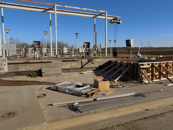 Staff photo by Mike Elswick<br /> A raw-water pump station near the city of Muskogee's wastewater treatment plant on East Hancock Street is being retrofitted. The project is one of several wastewater infrastructure improvements planned during the next few years at a projected cost of more than $20.5 million.