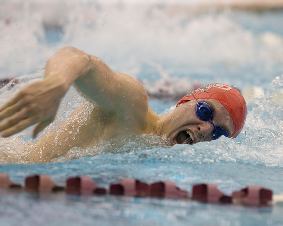 Special photo by Von Castor<br /> Fort Gibson's Connor Schapp swims in the 100-yard freestyle race at the Class 5A state finals Saturday at the Jenks Aquatic Center.