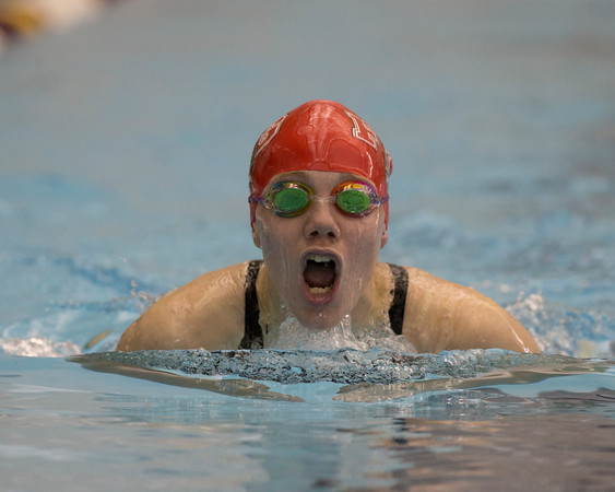Special photo by Von Castor<br /> Fort Gibson swimmer Catie Sain swims in the 200-yard individual medley at the Jenks Aquatic Center.