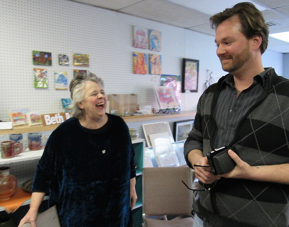 Staff photo by Cathy Spaulding<br /> Eufaula Arts Council Executive Director Glenna McBride, left, talks with Treasurer A.J. Ray inside Eufaula Main Street Studio. The two were among 31 people selected to take part in the Oklahoma Arts Council's 2017 Leadership Class.