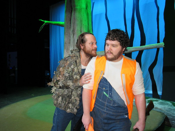 """Staff photo by Cathy Spaulding<br /> Duck hunting brothers Duane (Jeremy Sheldon, left) and Duwell (Zach Alexander) scour southern swamps for something to shoot. They shoot something surprising in the Muskogee Little Theatre production of """"Duck Hunter Shoots Angel."""""""