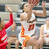 VON CASTOR/Special to the Phoenix<br /> Connors' Jasmyn Taylor beats a Northern Oklahoma defender to score in the lane Monday night at Connors in Warner.