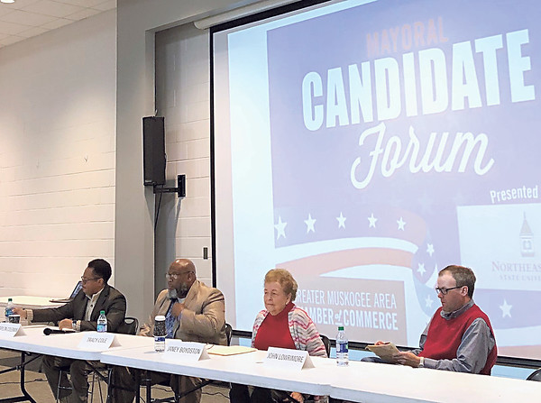 D.E. SMOOT/Muskogee Phoenix<br /> Four of five candidates competing in the 2020 mayoral election prepare to be quizzed Monday during a forum sponsored by the Greater Muskogee Area Chamber of Commerce and Northeastern State University at the Dr. Martin Luther King Jr. Community Center.