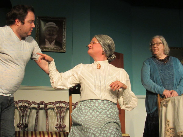 "CATHY SPAULDING/Muskogee Phoenix<br /> Mortimer (Kevin Neal) worries what his aunts, Martha, (Bridget Cowlishaw, center) and Abby (Peggy Kaney) are conspiring in the Tahlequah Community Playhouse production ""Arsenic and Old Lace."""