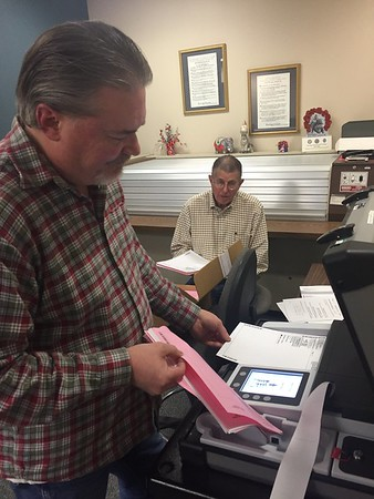 Staff photo by D.E. Smoot<br /> Muskogee County Election Board Secretary Kelly Beach recounts ballots cast in Precinct 38, where a voting machine malfunctioned before polls closed Tuesday.