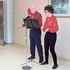 "KENTON BROOKS/Muskogee Phoenix<br /> Bob Cockle, left, and Betty Honea sing ""Ain't We Got Fun"" on Thursday at the reunion for the rehabilitation center at Saint Francis Hospital Muskogee. The couple loves to perform together. The reunion was to bring former patients, called graduates, of the rehab center together."