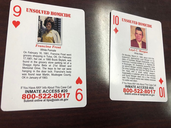 CHESLEY OXENDINE/Muskogee Phoenix<br /> The OSBI decks of playing cards feature information on cold cases in hopes prisoners playing with the cards might come forward with information. This deck – the second – features two cases from Muskogee: Francine Frost and Loyd C. Morgan.