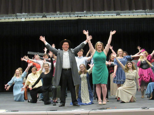 """CATHY SPAULDING/Muskogee Phoenix<br /> The cast of """"Curtains"""" joins in """"The Show Must Go On,"""" in the Tahlequah Tiger Theatre production of the comic musical whodunit."""