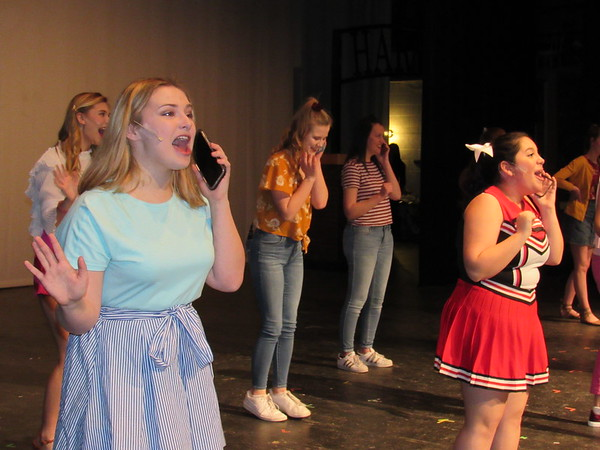 "CATHY SPAULDING/Muskogee Phoenix<br /> Delta Nu sorority sisters sing ""Ohmigod You Guys"" as they share news of a potential proposal in the Muskogee High School production of ""Legally Blonde the Musical. MHS will present the show Thursday through Sunday."