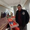 Muskogee's Jack Stafford proudly shows one of the red cedar boxes he made for Monday's Veterans Affairs Art Competition at the Jack C. Montgomery VA Medical Center. Stafford, retired from the Air Force and a member of the Creek Nation Honor Guard, said he's made boxes of all sizes for three years.