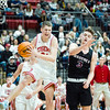 CHRIS CUMMINGS/Special to the Phoenix<br /> Fort Gibson's Conner Calavan takes a rebound away from Wagoner's Sawyer Jones during Thursday's Class 4A Area IV regional semifinal in Fort Gibson.