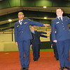 Staff photo by Cathy Spaulding<br /> Muskogee High School Air Force Junior ROTC cadets, Makyra Duke, left and Fred Simmons, second from left, hold their arms out to measure their distance from the cadets next to them. They drilled Monday morning as part of a program viability visit and inspection.