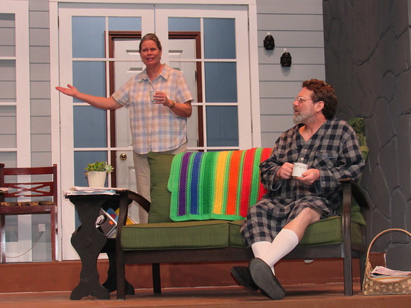 "CATHY SPAULDING/Muskogee Phoenix<br /> Years of living together in their parents' home takes a toll on siblings Sonia (Linda Sapienza) and Vanya (Phil Sapienza) in the Muskogee Little Theatre production ""Vanya and Sonia and Masha and Spike."""