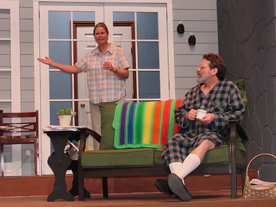 """CATHY SPAULDING/Muskogee Phoenix Years of living together in their parents' home takes a toll on siblings Sonia (Linda Sapienza) and Vanya (Phil Sapienza) in the Muskogee Little Theatre production """"Vanya and Sonia and Masha and Spike."""""""