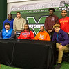 Phoenix special photo by Von Castor<br /> Muskogee players gather for their signings on Wednesday morning are, from left, top, Michael Buckhanan, Jacob Medrano, Mike Edwards, Devin Hillmon; bottom, Chase Gray, John Smith, D.J. Mayes and Diante Crutchfield. More pictures, page 3B. Also, additional photos are online at muskogeephoenix.com/sports.