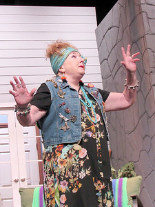 """CATHY SPAULDING/Muskogee Phoenix Psychic housekeeper Cassandra (Sarah Turner) makes a dire prediction in the Muskogee Little Theatre production of """"Vanya and Sonia and Masha and Spike."""""""