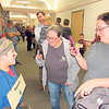 CATHY SPAULDING/Muskogee Phoenix<br /> Sequoyah (third-grader Kale Owen) smiles for Jill Owen, center, and Robin Owen during the Oklahoma Living History Museum, presented by Fort Gibson Intermediate Elementary third-graders.
