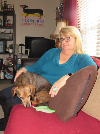 "CATHY SPAULDING/Muskogee Phoenix<br /> Lori Martin cuddles with her dachshund, Brodie. Martin painted the ""Dachshund longboard"" poster on the wall."