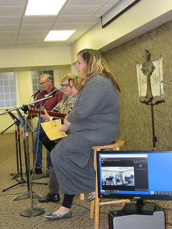 Staff photo by Cathy Spaulding<br /> A quartet performs at First Baptist Church Wednesday night worship while being live streamed. The church began live streaming Wednesday services this week.