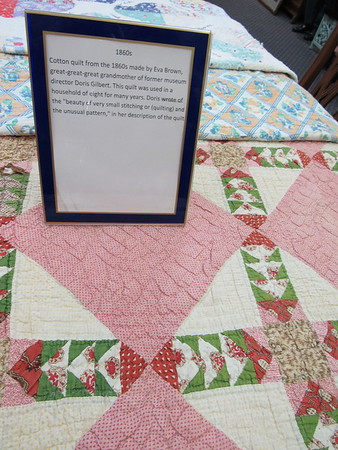 Staff photo by Cathy Spaulding<br /> A quilt that dates back to the Civil War remains in pristine condition. It will be display through Jan. 31 at Wagoner City Historical Museum during a special quilt exhibit.