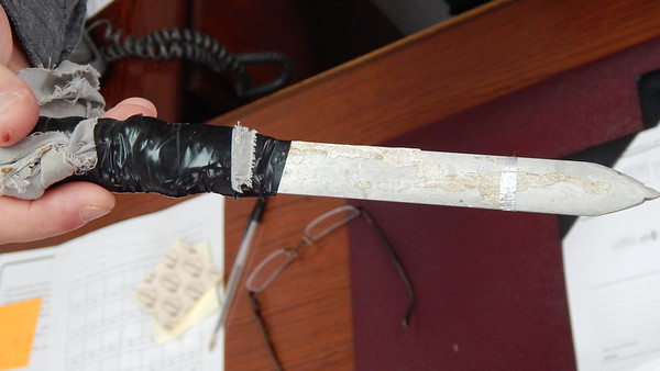 """Staff photos by Mark Hughes<br /> A shank, made of metal with its handle wrapped in electrical tape, was confiscated recently from an inmate at the Jess C. Dunn Correctional Facility. Even more dangerous are pokes, which are like an ice pick. """"You know they're meaning to kill someone — they go straight in and hit vital organs,"""" said Jim Farris, warden at Jess C. Dunn Correctional Facility."""