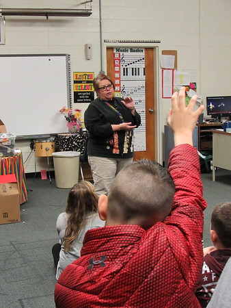 Staff photo by Cathy Spaulding<br /> Students ask plenty of questions in Christi Thomson's music class at Hilldale Elementary. She has taught there for 30 years.
