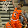 Phoenix special photo by Von Castor<br /> Connors State's Ra'Shawn Langston goes up for a dunk against Eastern State Monday in Warner.