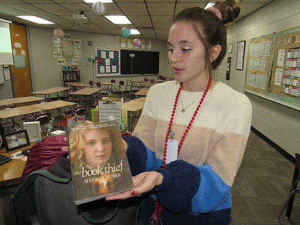 "CATHY SPAULDING/Muskogee Phoenix<br /> Fort Gibson Middle School teacher Hannah Newton bought a set of ""The Book Thief"" novels through a Fort Gibson Education Foundation grant."
