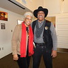 KENTON BROOKS/Muskogee Phoenix<br /> ShIronbutterfly Ray and her husband, Oscar Dean Ray, share a laugh at Three Rivers Museum. Oscar was dressed as Bass Reeves, a former marshal in Muskogee, at the Muskogee County Historical Society. The couple will be the grand marshals in the Martin Luther King Jr. Day Parade on Monday.