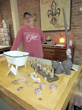 CATHY SPAULDING/Muskogee Phoenix<br /> Rustic Elegance owner Danny Templeton says Fort Gibson's Gathering on the Green, set for Saturday, could attract people to downtown businesses, as well as home-based vendors.