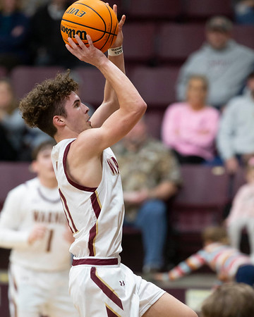 VON CASTOR/Special to the Phoenix<br /> Warner's Jack Van Daley puts up a floater in the lane Tuesday vs. Summit Christian at Warner.