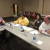 CHESLEY OXENDINE/Muskogee Phoenix<br /> (from left to right) Justin O'Neal, Joy Sloan, Sarah Gile and Max Boydstun discuss the various issues facing Muskogee tourism during a Tourism Committee meeting.