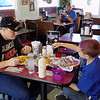 Staff photo by Mike Elswick<br /> Customers Diane and Talon Williams dine on their lunch Wednesday at the Boom-a-rang Diner location on Eastside Boulevard. The chain of restaurants is opening its 50th location this week in Holdenville but got its start in Muskogee at that Eastside location. Diane said the quality of food and friendly service keep her coming back. Talon Williams said the location's pancakes are his favorite item to order.